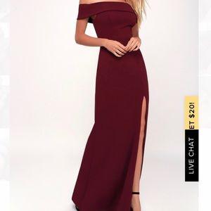 Lulu's Burgundy Off the Shoulder Dress